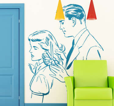 Wall Stickers - Illustration of a male barber trimming a lady´s hair.