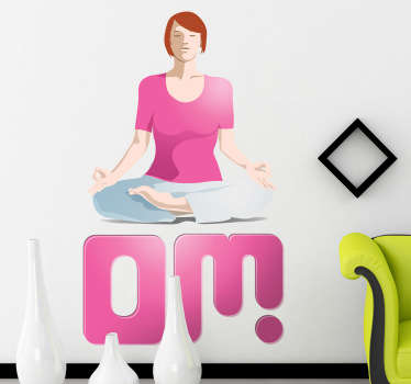 "Wall Stickers - Add a touch of peace and relaxation too your environment with this illustration of a female meditating above the text ""Om""."