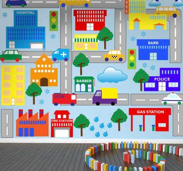 Sticker kinderen grote stad