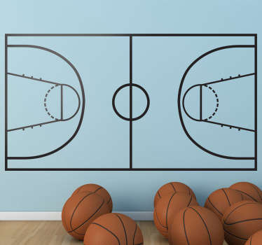 Vinilo decorativo cancha baloncesto