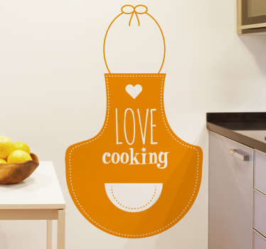 Muursticker schort love cooking