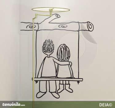 Sticker decorativo in altalena di spalle