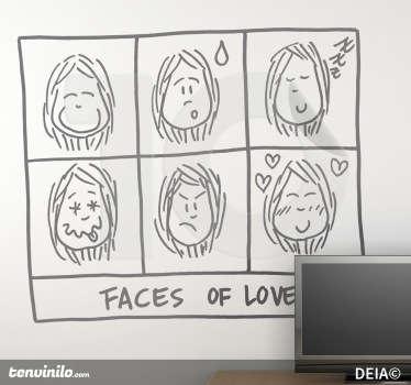 Vinilo decorativo faces of love