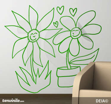 Original illustration by Spanish artist DEIA. Love between two flowers a wild flower and potted flower. Design from our daisy wall stickers set!