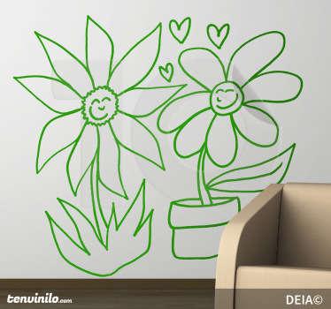 Wandtattoo verliebte Blumen