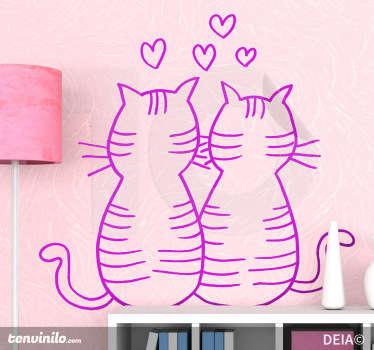 Adesivo bambini gatti innamorati