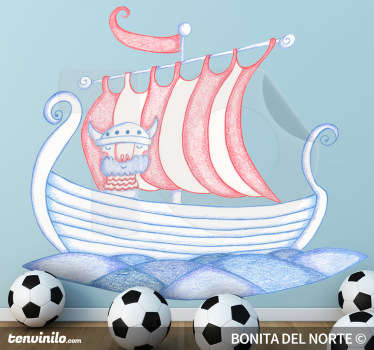 Spectacular sticker of a Scandinavian ship controlled by a brave warrior. Creative sticker for your children.