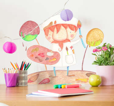 A kids wall sticker with a beautiful illustration of an artist at work. Design by Bonita Del Norte exclusively for Tenstickers.