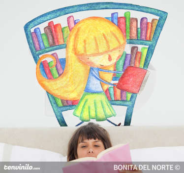 A superb and colourful wall sticker illustrating a little blonde girl searching for a book at the library.