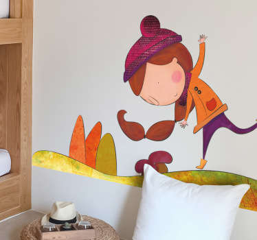 Sticker decorativo bimba in autunno