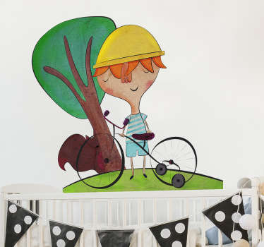 Original illustration by Bonita del Norte of an adventurous boy on his bicycle near a tree.