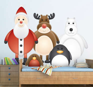 A great design illustrating different winter characters such as Santa, reindeer, penguin, polar bear... Ideal from our set of penguin wall stickers.