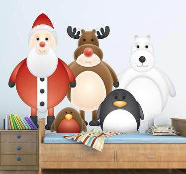 Adhesivo personajes invernales