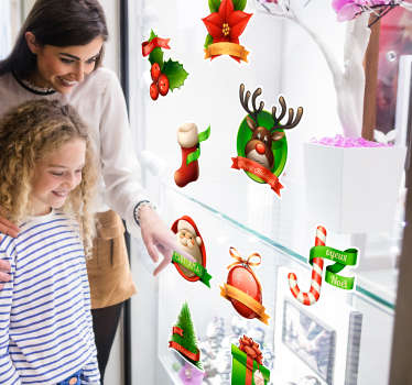 A fantastic collection of Christmas wall stickers including many elements such as: a stocking, reindeer, mistletoe, trees, plants and Santa!