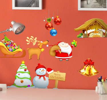 Sticker conjunto elementos navidad