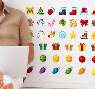 A sticker set of cute Christmas icons to decorate your walls or accessories in a festive way.