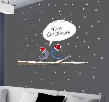 Decorate your home this Christmas with this beautiful wall sticker of two little birds with Christmas hats in the snow and a speech bubble.