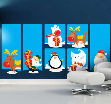 Collection of stickers with different elements of the festive season. Perfect for creating a wintry scene in your home.
