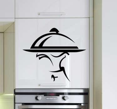 服务员和托盘厨房墙贴