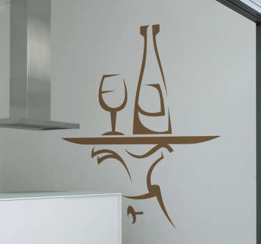 Kitchen Wall Sticker - Decorate your kitchen cabinets, walls or appliances with a fun and original sticker showing a glass and a bottle of wine on a tray.