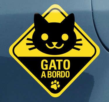 Adhesivo para coche gato a bordo