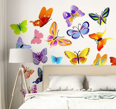 Fargerike sommerfugl vegg klistremerke