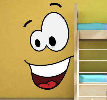 Bring your wall to life with this funny and playful design. An original smiley wall sticker from our collection of funny wall stickers! A smiley comic style character to decorate your wall or any other smooth surface such as your laptop!