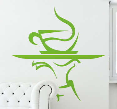 A steaming cup of coffee being served on a tray. Brilliant coffee wall art decal to decorate your coffee shop or your kitchen.
