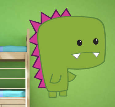 Kids Wall Stickers - Playful and fun illustration of a mini green dinosaur. Ideal for decorating areas for children.