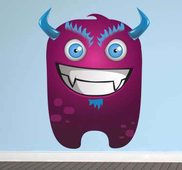A design for kids illustrating a malicious purple monster with blue eyes, horns and hair. Monster decal from our collection of purple wall stickers.
