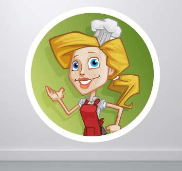 Sticker vrouwlijke kok
