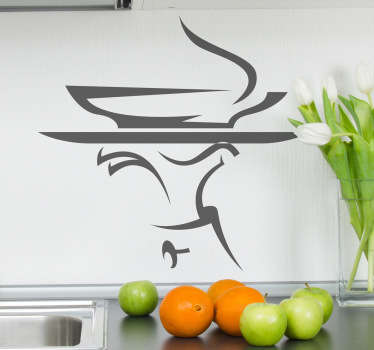 Kitchen Wall Stickers - A bowl of hot soup being served on a tray. Decorate your kitchen appliances, walls and cupboards. Perfect decal to decorate the cooking area to set the mood for food. Decals great for styling your home or restaurant.