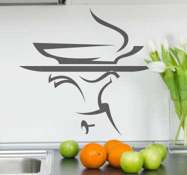Stencil muro vassoio cameriere