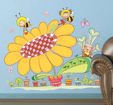 Kids Wall Stickers - Colourful and fun illustration of a small bee city. Ideal for decorating areas for children.