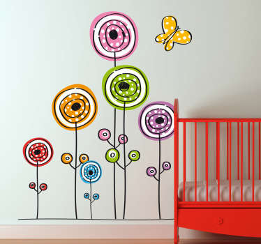 Colourful and playful kids wall sticker of flowers and a butterfly ideal for decorating a child's bedroom, nursery and play areas. This flower wall sticker is perfect for bringing a touch of colour and nature to your child's life and your home decor is general.