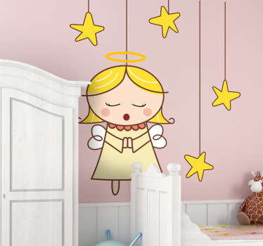 Nursery wall sticker to decorate your child's room. A great wall decal of a singing angel surrounded by stars!
