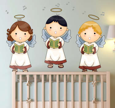 This angel wall art sticker of three singing angels fits ideally in an environment with children. A perfect wall decoration above your child's bed.