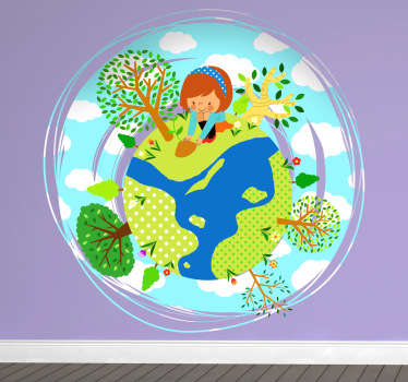 Decorate your child's room with this cute vinyl decal of a little girl that is enjoying her time in the garden.