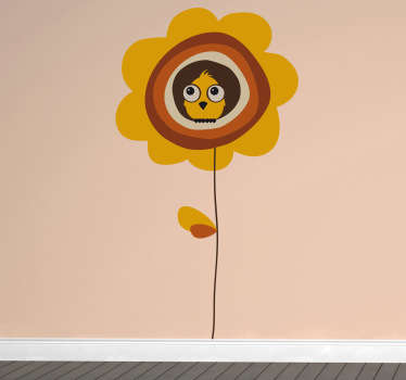 Sticker enfant oiseau dans fleur