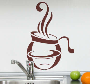 Kitchen Stickers - Design of a pot of steaming coffee. Decorate your kitchen appliances, walls and cupboards.Decals great for styling your home.