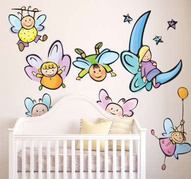 Collection of different angel wall art stickers for children. Different angels from one sleeping to another flying away holding a balloon.