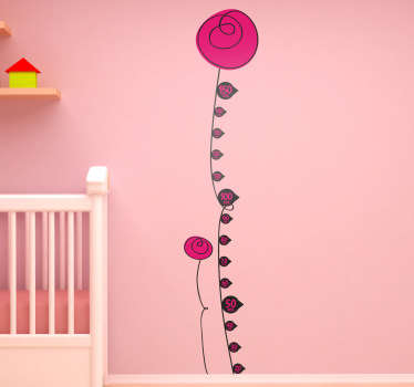 The floral height chart wall sticker to decorate your children's bedroom and measure their height! You can also measure everyone else's height in the family with the floral kids sticker.