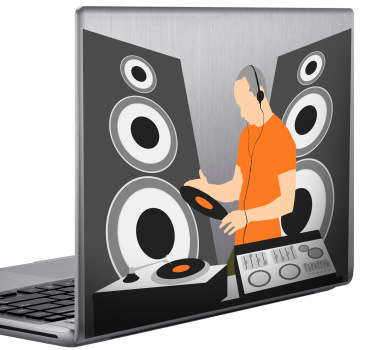 A Dj laptop sticker representing a Dj and his tableboard. * Depending on the size of your device the sticker proportions may vary slightly.