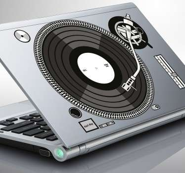 Laptop sticker of a DJs turntable