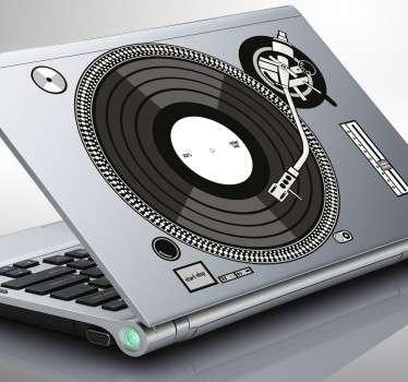 Laptop sticker of a DJs turntable
