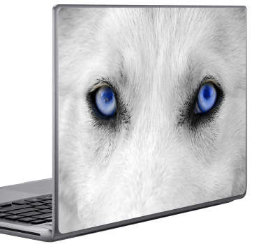 Incredible design of a wolf´s crystal blue eyes that you can use as a laptop sticker. This wolf sticker will give your laptop a unique design and set it apart from the rest.