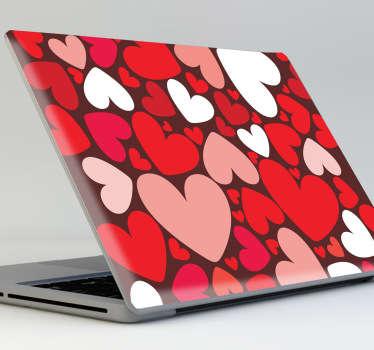 Sticker decorativo corações coloridos laptop