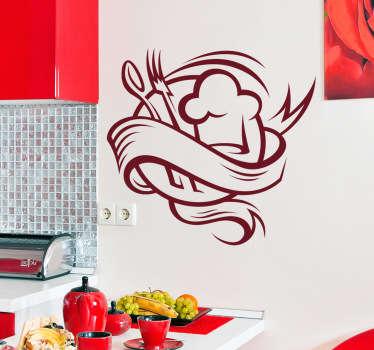 Vinil decorativo para cozinhas, cafés, restaurantes, bares etc. Adesivo d eparede de uma ilustração de uma colher, garfo e chapéu de cozinheiro.