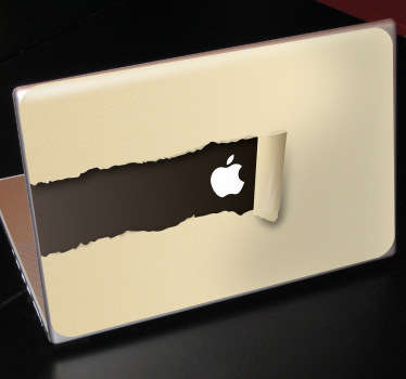 Create a torn paper illusion that reveals the Apple logo with this design. A fascinating decal from our collection of MacBook stickers.