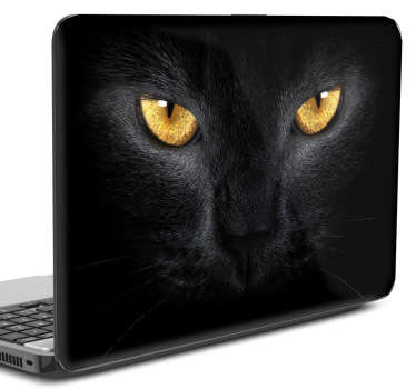 Laptop sticker afbilledet af sort kat